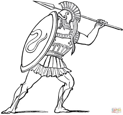 ancient greek soldier coloring page free printable