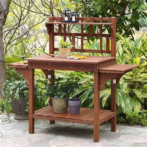wood potting bench solid wood potting bench with flip up sides and garden