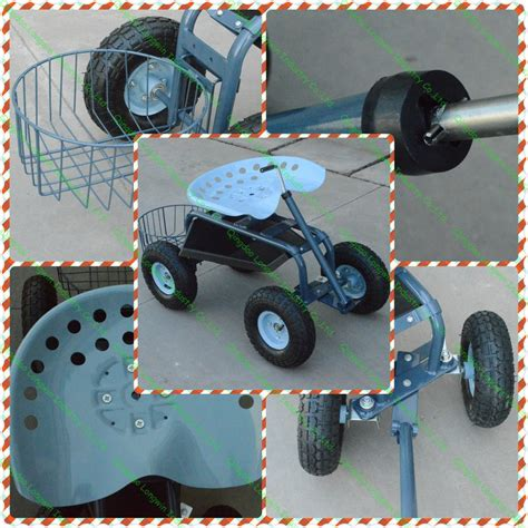 garden scooter tractor seat garden tool deluxe tractor scoot with basket view