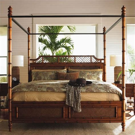 island estate west indies wood poster canopy bed 3 piece