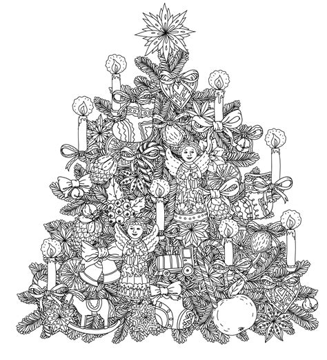 Christmas Tree Coloring Pages For Adults 2018 Dr Odd Detailed Tree Coloring Pages