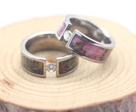 pink camo wedding ring sets mini bridal