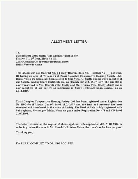 Parking Allotment Letter From Builder