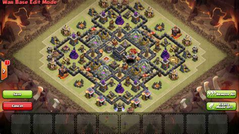 layout coc yang aman base war th 9 game coc yang tidak dapat di tembus dengan