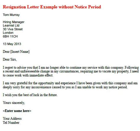Immediate Resignation Letter Without Notice Period Resignation Letter Exle Without Notice Period Learnist Org