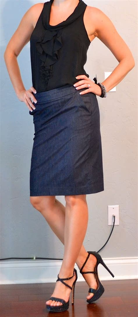 posts black ruffle tank denim pencil skirt black