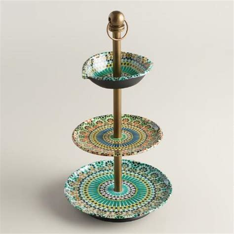 multicolor mosaic enameled three tiered jewelry stand