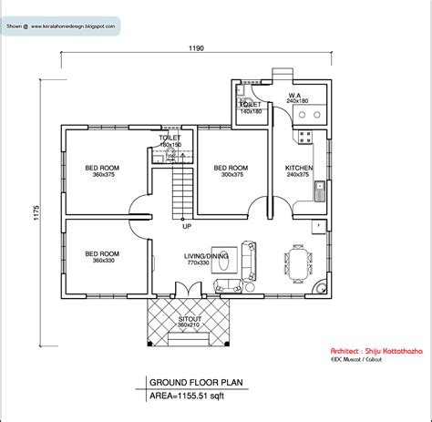 house plan com kerala style single floor house plan 1155 sq ft