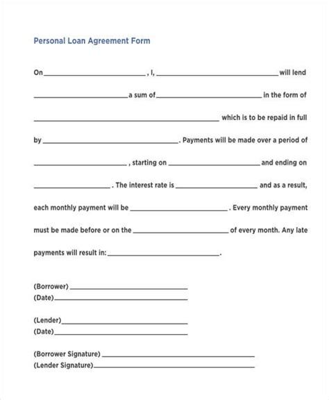 unsecured loan agreement template free 7 personal loan agreement form sles free sle