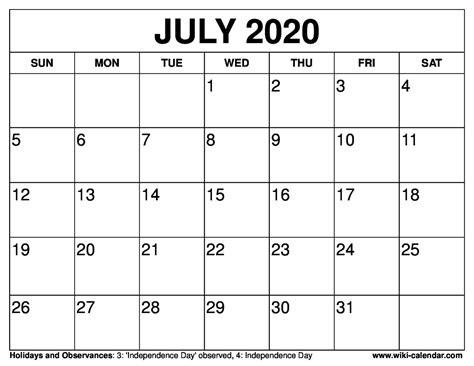 printable july  calendar wiki calendarcom
