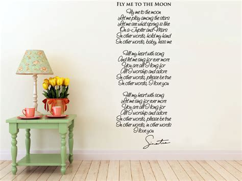 on the moon testo wall vinyl decal fly me to the moon song lyrics by frank