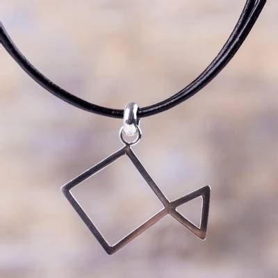 Kalung Fashion Minimlaist With Empty Triangle leather and sterling silver abstract fish design necklace