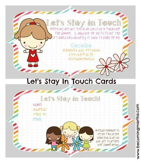 keep in touch card template let s stay in touch school and gift