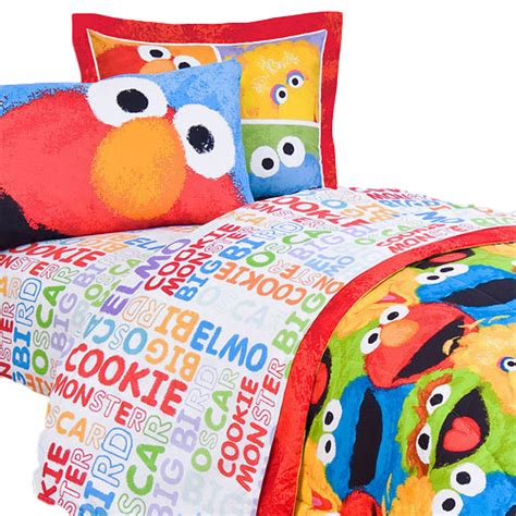sesame street chalk twin bed sheet set 3pc elmo big bird