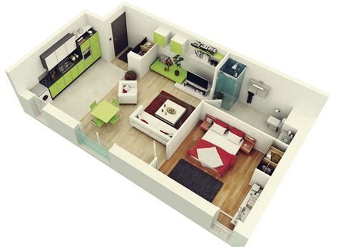 Single Bedroom Apartment Floor Plans | colorful 1 bedroom apartment interior design ideas