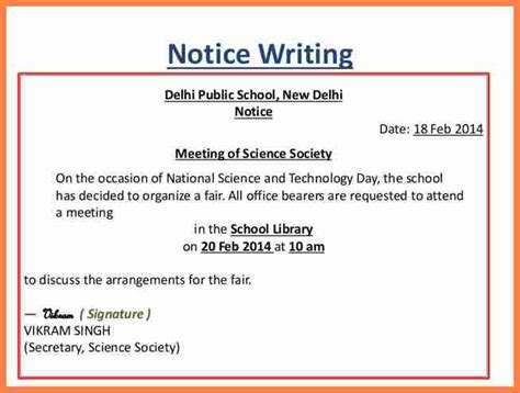 notice writing format 10 sles of notices notice letter