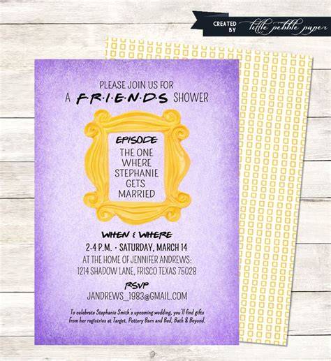 Tv Birthday Cards Friends Themed Shower Or Birthday Party Invitation