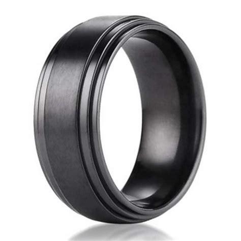 mm benchmark black titanium mens wedding ring  step