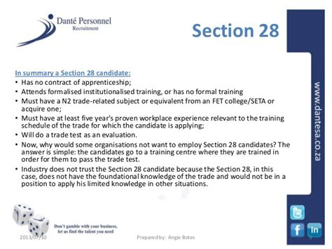 section 13 trade test trades training section 28 vs section 13