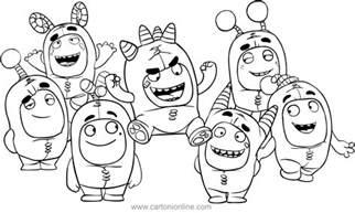 disegno degli oddbods gruppo da colorare