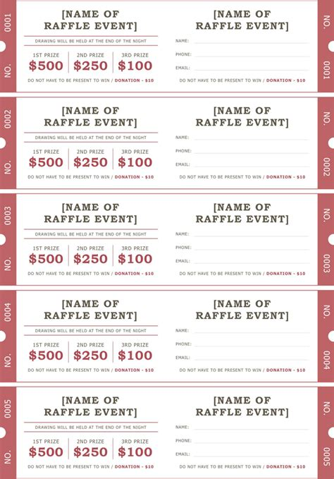 raffle entry form template luxury drawing tickets template