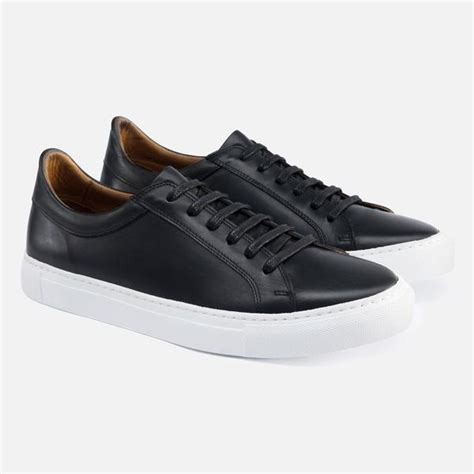 mens black sneakers with white soles alba low top sneakers black leather beckett simonon