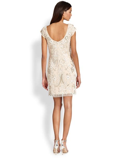 beaded dresses lyst aidan mattox beaded cocktail sheath dress in