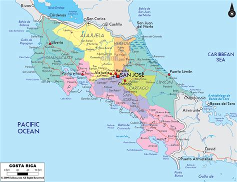 maps of costa rica detailed political map of costa rica ezilon maps