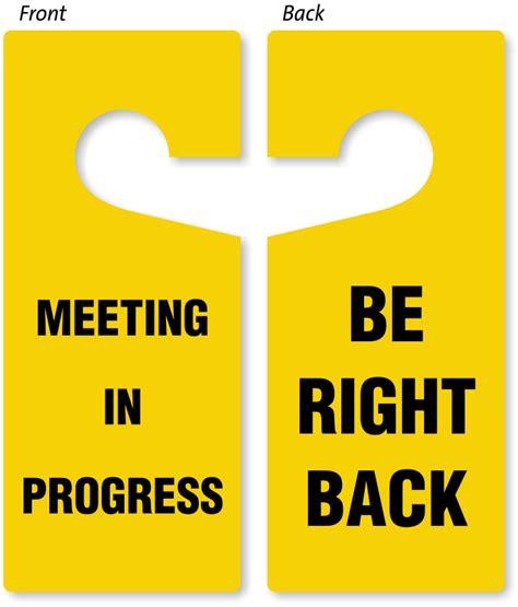 be right back meeting in progress door hanger 2 sided