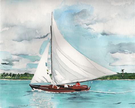 boat art beach artwork watercolor painting print sailboat
