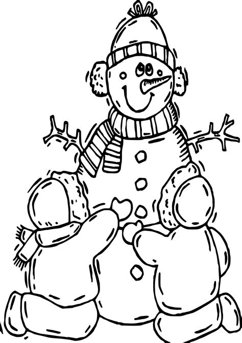 winter child making snowman coloring page wecoloringpage