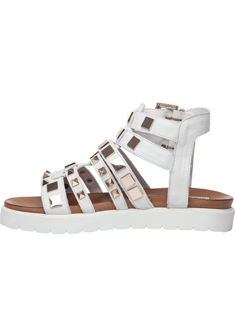 steve madden bettee leather caged sandal in white lyst