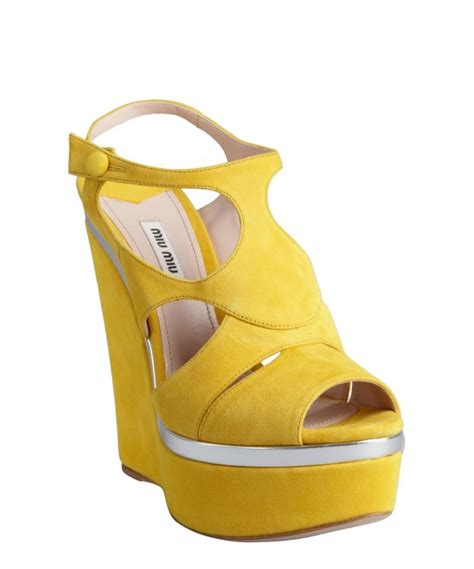 miu miu yellow and silver suede wedge sandals in yellow lyst