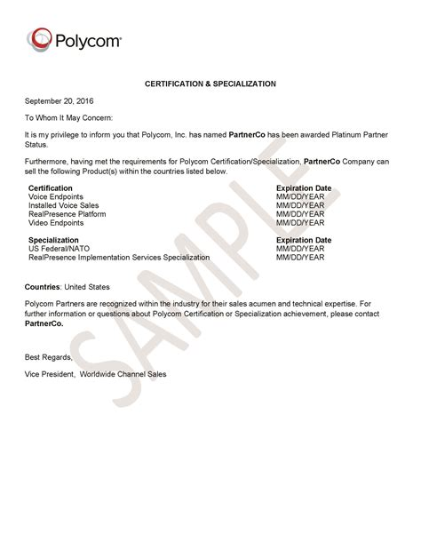Sle Letter For Product Certification Why You Should Purchase From Authorized Polycom Partners