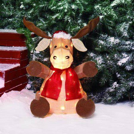 moose 60 inch lighted outdoor display time 22 quot sparkling burlap sitting moose light sculpture walmart