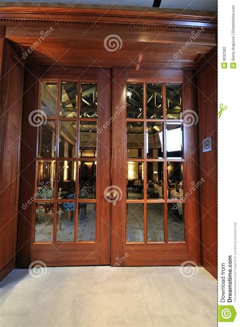 Restaurant Front Doors Big Wooden Door In Restaurant Stock Photography Image