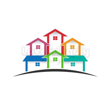 clipart estate real estate logo colored houses clip concept for a