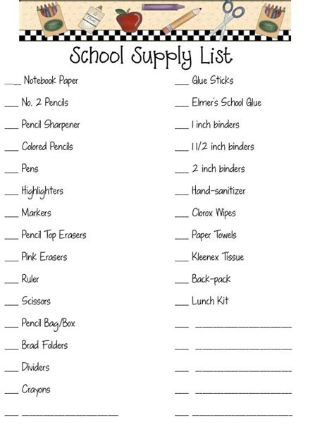 printable shopping list kindergarten back to school shopping list google search