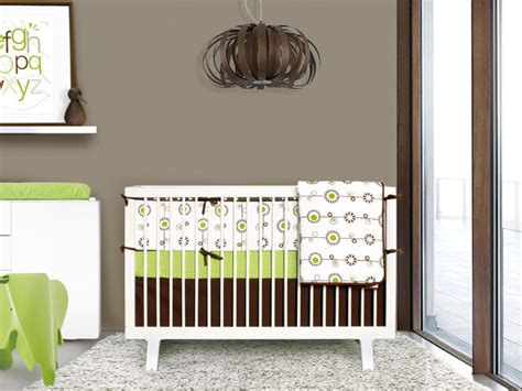 Green And Brown Crib Bedding Green And Brown Bloom 4 Crib Set Contemporary Baby Bedding By Olli Lime