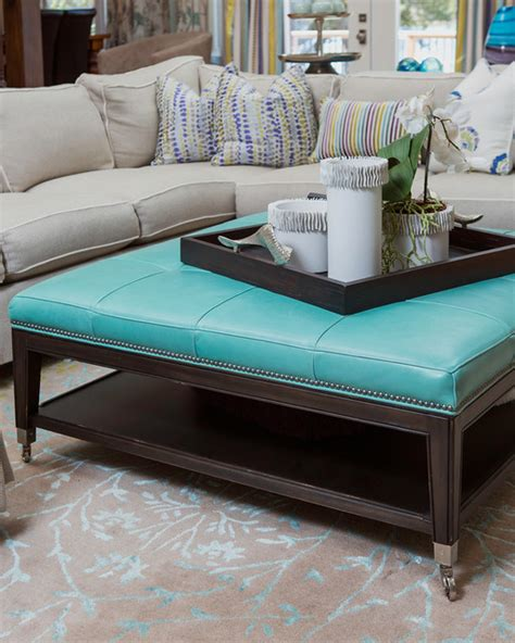 turquoise ottoman coffee table details of sectional turquoise leather ottoman