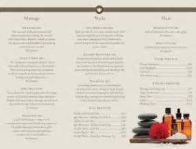 day spa trifold page spa menus