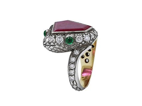rubellite and emerald snake ring in silver 510093
