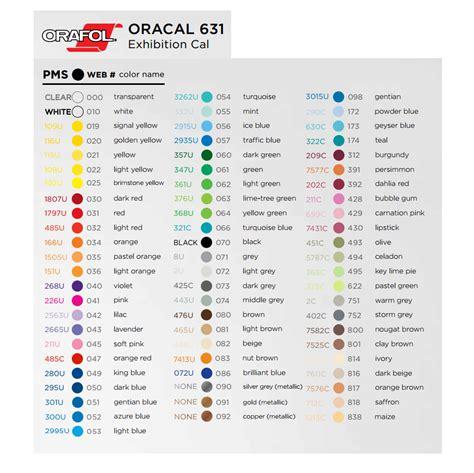 oracal vinyl color chart oracal 631 vinyl world 651