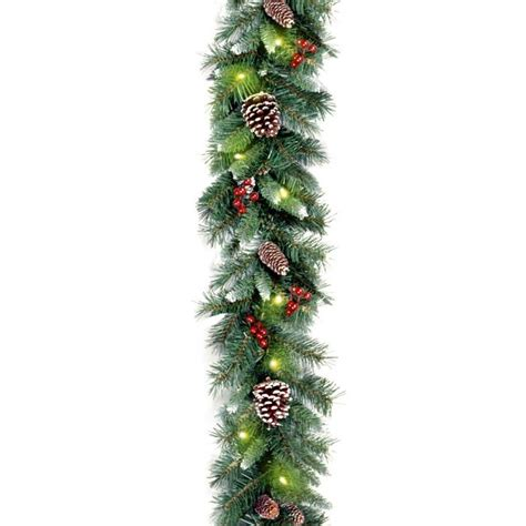 pre lit frosted berry christmas garland  brookstonebuy