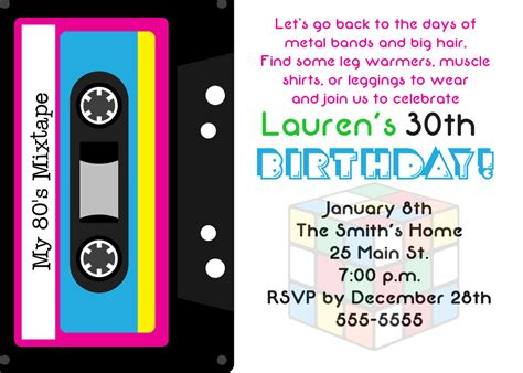 80s invitation template 80 s theme 30th birthday invitation by simplyprintable