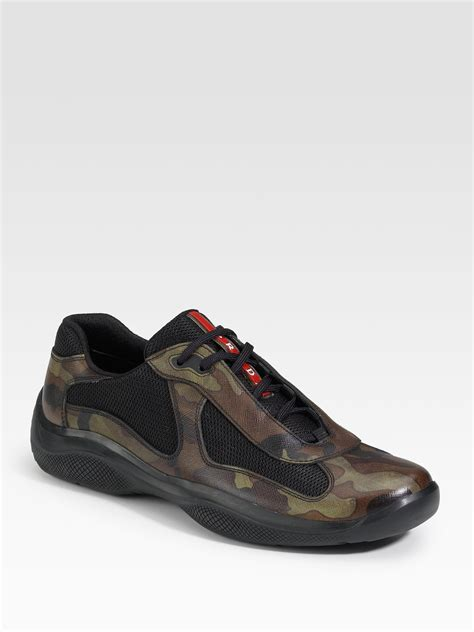 prada sneakers for prada camouflage leather sneakers in green for