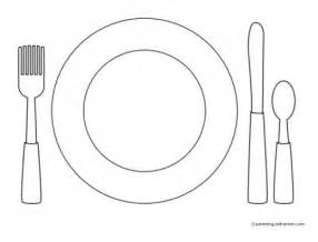 To Color Learn Set The Table With Knife Fork Spoon And Plate sketch template