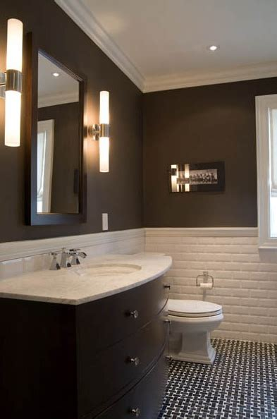 Chocolate Brown Bathroom | black and brown bathroom 2017 grasscloth wallpaper