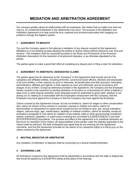 Employment Arbitration Agreement Template Templates Resume Exles 9egl5rdayr Workplace Mediation Agreement Template