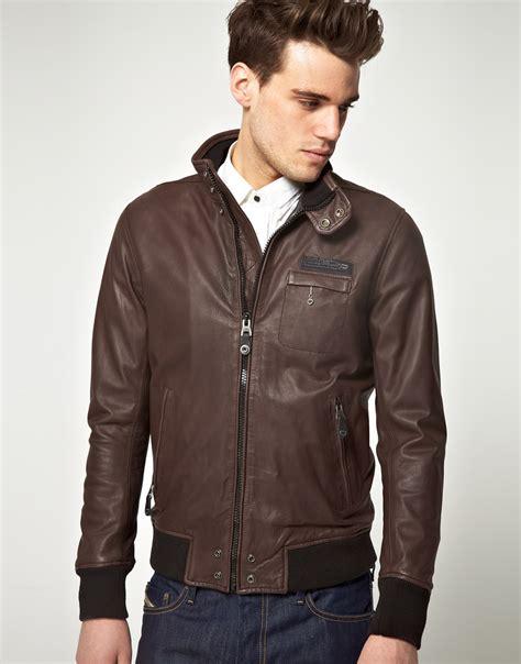Diesel Leather Brown diesel diesel lalo leather jacket in brown for lyst